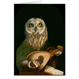 Den medeltida ugglan leker hans Lute Hälsningskort