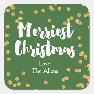 Den mest glada julen - den gröna guld- fyrkantigt klistermärke