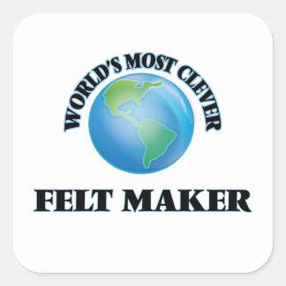 Den mest klyftiga världen klädde med filt fyrkantigt klistermärke