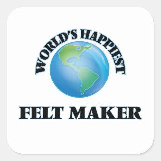 Den mest lyckliga världen klädde med filt fyrkantigt klistermärke