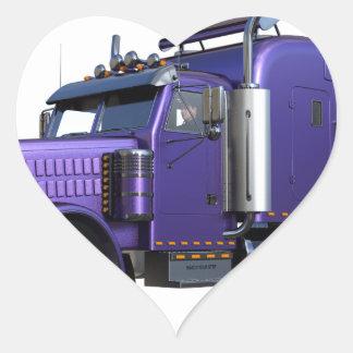Den metalliska purpurfärgade halva lastbilen i tre hjärtformat klistermärke