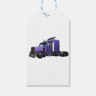 Den metalliska purpurfärgade halva lastbilen i tre pack av presentetiketter
