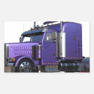 Den metalliska purpurfärgade halva lastbilen i tre rektangulärt klistermärke