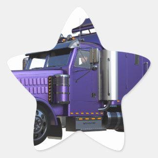 Den metalliska purpurfärgade halva lastbilen i tre stjärnformat klistermärke