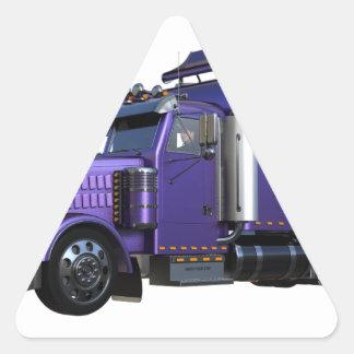 Den metalliska purpurfärgade halva lastbilen i tre triangelformat klistermärke