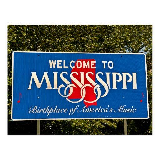 Den Mississippi välkomnandet undertecknar Vykort
