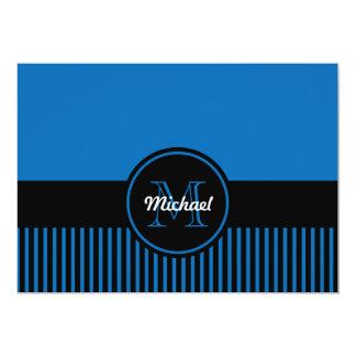 Den moderiktiga blända blåttsvarten görar randig 12,7 x 17,8 cm inbjudningskort