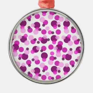 Den moderiktiga moderna rosa- och lilapolkaen julgransprydnad metall