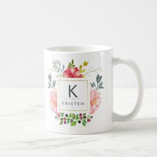 Den moderiktiga vattenfärgpionen blommar kaffemugg