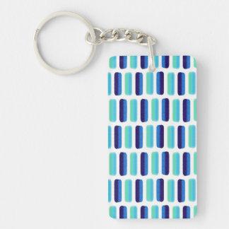 Den moderna blåttkrickavattenfärgen slår mönster rektangulärt dubbelsidigt nyckelring i akryl