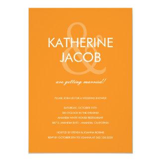 Den moderna et-teckenmöhippan inviterar orangen 12,7 x 17,8 cm inbjudningskort