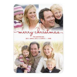 Den moderna julen räcker märkt skrivar det 12,7 x 17,8 cm inbjudningskort