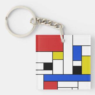 Den Mondrian linjer kvadrerar (tvåsidiga) Keychain