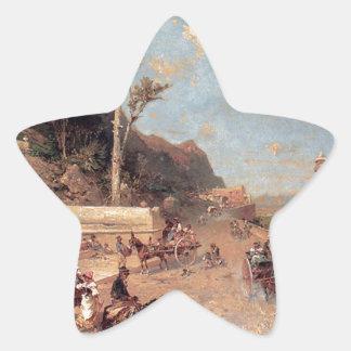 Den Monreale vägen, Palermo av Franz Richard Stjärnformat Klistermärke