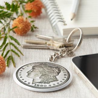 Den Morgan silverdollaren avbildar på Keychain Rund Nyckelring