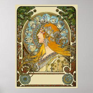 Den Mucha art nouveauaffischen - Zodiac - La Affisch