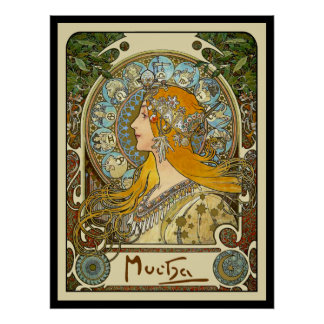 Den Mucha art nouveauaffischen - Zodiac - La Affischer
