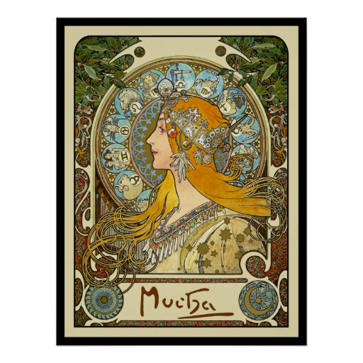 Den Mucha art nouveauaffischen - Zodiac - La putsa Affischer