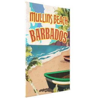 Den Mullins strandfjärden Barbados reser affischen Canvastryck