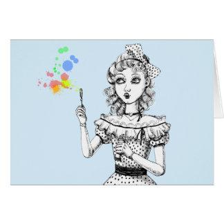 Den nätt dockan och regnbågen bubblar hälsningskort