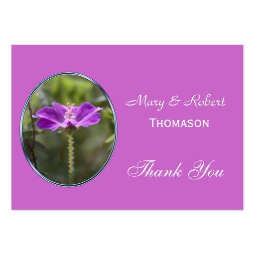 Den nätt favören för lilablommabröllop tackar dig visitkort