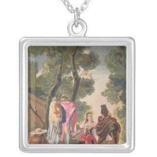 Den nätt kvinnan och den maskerade manar silverpläterat halsband