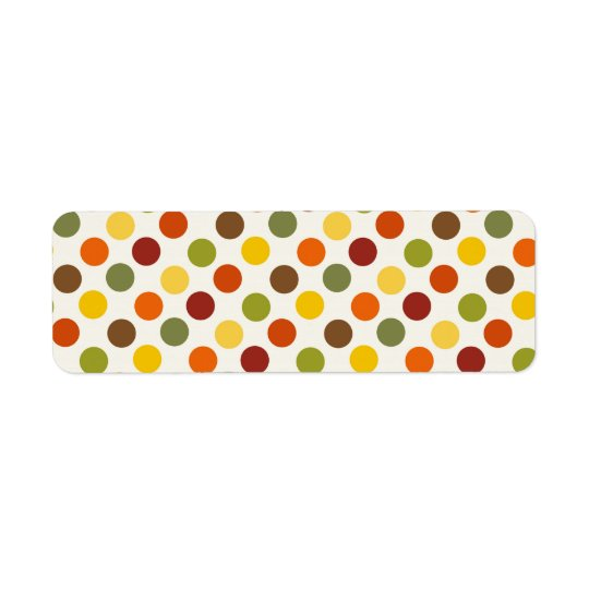 Den nätt nedgånghösten färgar polka dotsmönster returadress etikett