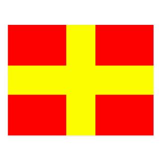 Den nautiska alfabetflagga signalerar brev R Vykort
