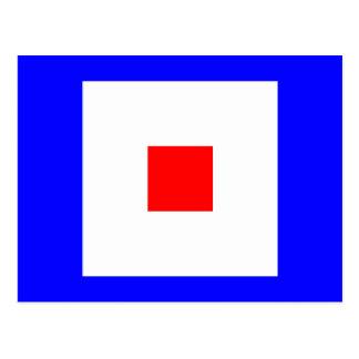 Den nautiska alfabetflagga signalerar brev W Vykort