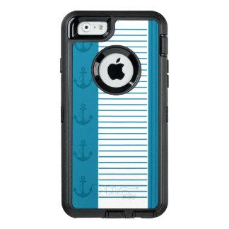 Den nautiska blåttvitranden ankrar design OtterBox defender iPhone skal