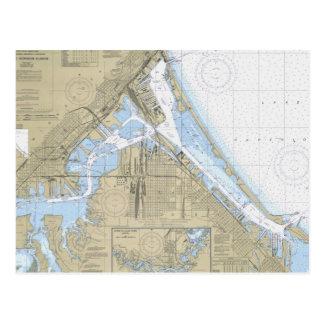 Den nautiska Duluth Minnesota hamnen kartlägger Vykort
