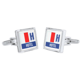 Den nautiska flagga kodifierar H (hotellet) Silverpläterade Manschetterknappar