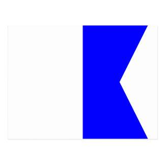 Den nautiska flagga signalerar brev A Vykort