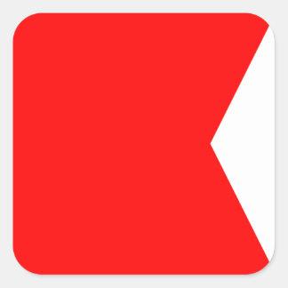 Den nautiska flagga signalerar brev B (bravoen) Fyrkantigt Klistermärke