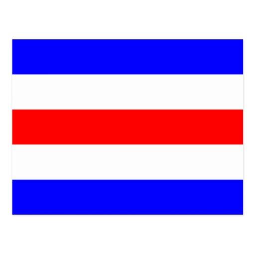 Den nautiska flagga signalerar brev C (Charlie) Vykort