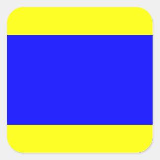 Den nautiska flagga signalerar brev D (deltan) Fyrkantigt Klistermärke