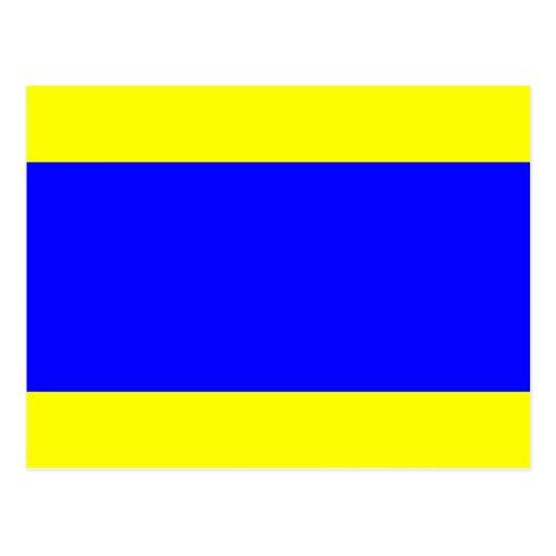 Den nautiska flagga signalerar brev D (deltan) Vykort