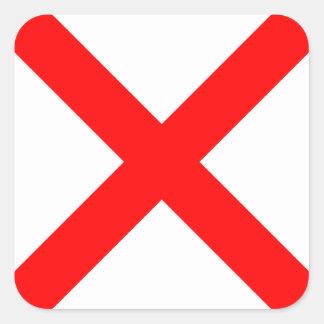 Den nautiska flagga signalerar brev V (victoren) Fyrkantigt Klistermärke