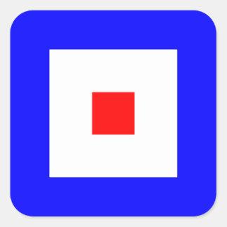 Den nautiska flagga signalerar brev W (Whiskey) Fyrkantigt Klistermärke