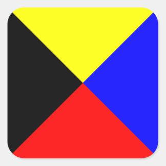 Den nautiska flagga signalerar brev Z (Zulu) Fyrkantigt Klistermärke