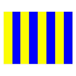 Den nautiska flagga signalerar brevG (Golf) Vykort