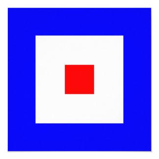 Den nautiska flagga signalerar Whiskeybrev W Fyrkantigt 13,3 Cm Inbjudningskort
