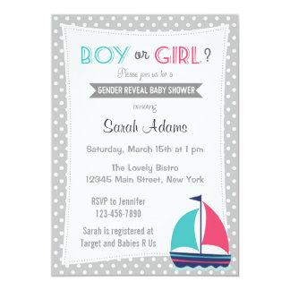 Den nautiska gender avslöjer partyinbjudanneutralt 12,7 x 17,8 cm inbjudningskort
