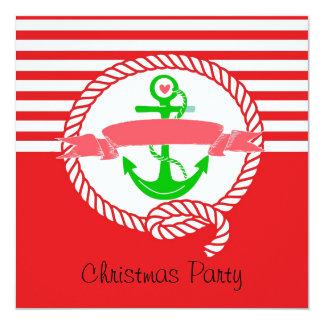 Den nautiska julpartyinbjudan Santa och seglar Fyrkantigt 13,3 Cm Inbjudningskort