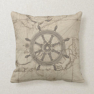 Den nautiska kartan med frakten rullar kudde