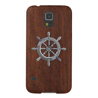 Den nautiska kromen rullar onWetmahognytrycket Galaxy S5 Fodral