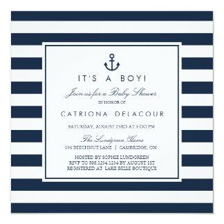 Den nautiska marinen är det en pojkebaby fyrkantigt 13,3 cm inbjudningskort