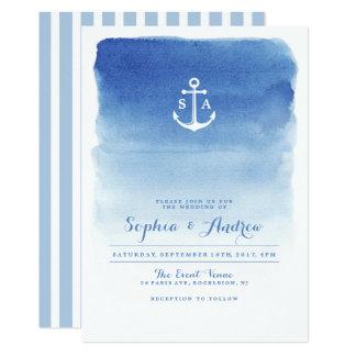 Den nautiska moderna vattenfärgen ankrar 12,7 x 17,8 cm inbjudningskort