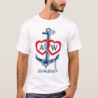 Den nautiska personligbröllopt-skjortan ankrar tshirts