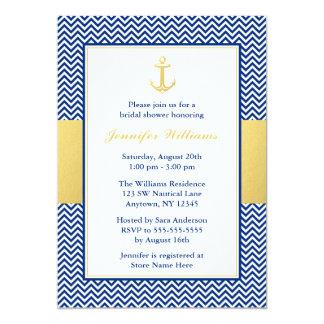 Den nautiska sparren ankrar blåttguldmöhippan 12,7 x 17,8 cm inbjudningskort